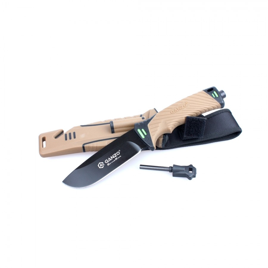 Нож Ganzo G8012, коричневый + мультитул в подарок!